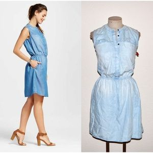 NEW Lt Wash Chambray Denim Sleeveless Shirt Dress